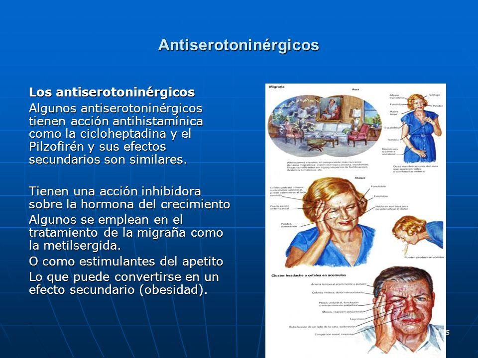55 Antiserotoninérgicos Los antiserotoninérgicos Algunos antiserotoninérgicos tienen acción antihistamínica como la cicloheptadina y el Pilzofirén y s