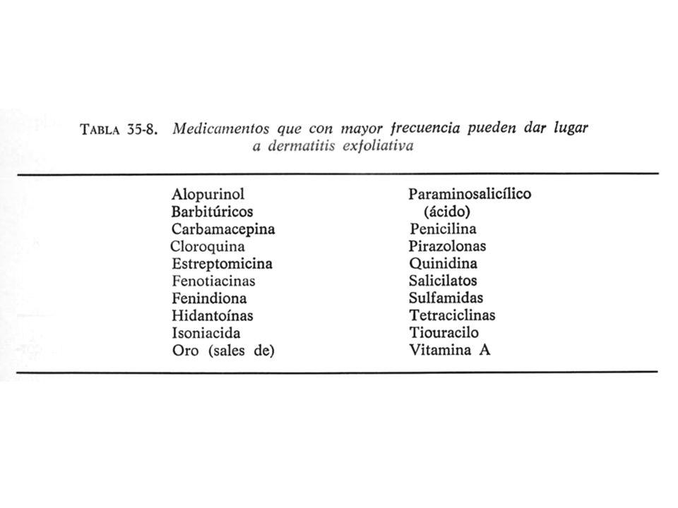 28 Medicamentos que provocan manifestacioes bullosas Circunscritas: Circunscritas por acción alérgica o de contacto: Diseminadas: Brotes de la enfermedad de Durhin, herpes, eritemas polimorfos, síndrome de Lyell.