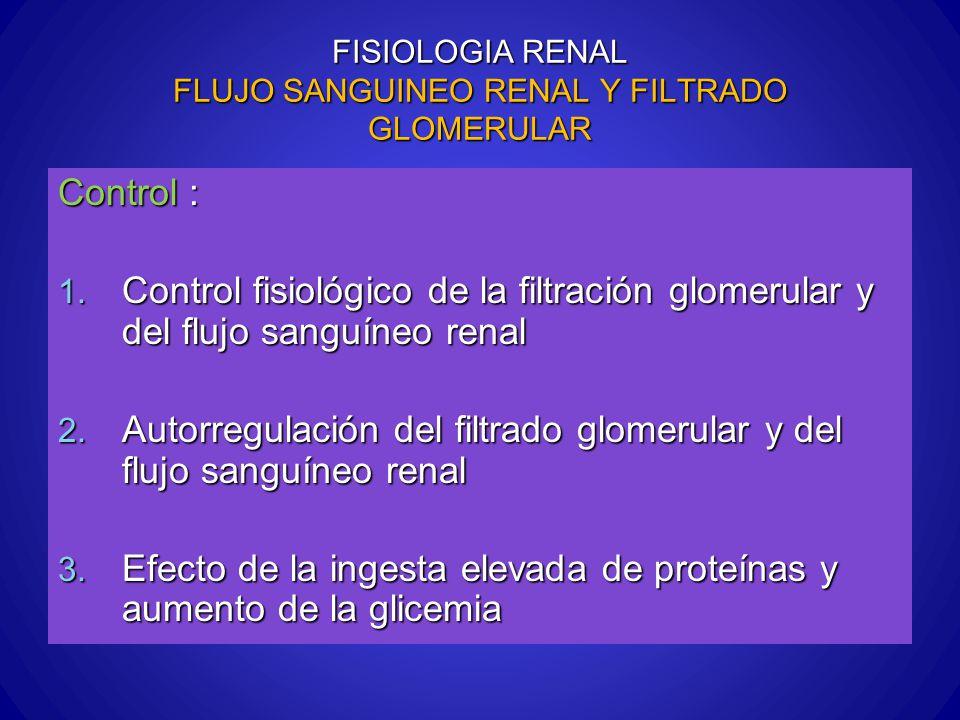 FISIOLOGIA RENAL FLUJO SANGUINEO RENAL Y FILTRADO GLOMERULAR Control : 1. Control fisiológico de la filtración glomerular y del flujo sanguíneo renal