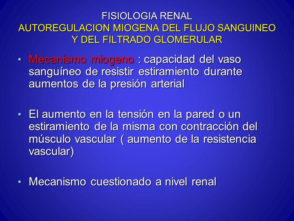 FISIOLOGIA RENAL AUTOREGULACION MIOGENA DEL FLUJO SANGUINEO Y DEL FILTRADO GLOMERULAR Mecanismo miogeno : capacidad del vaso sanguíneo de resistir est