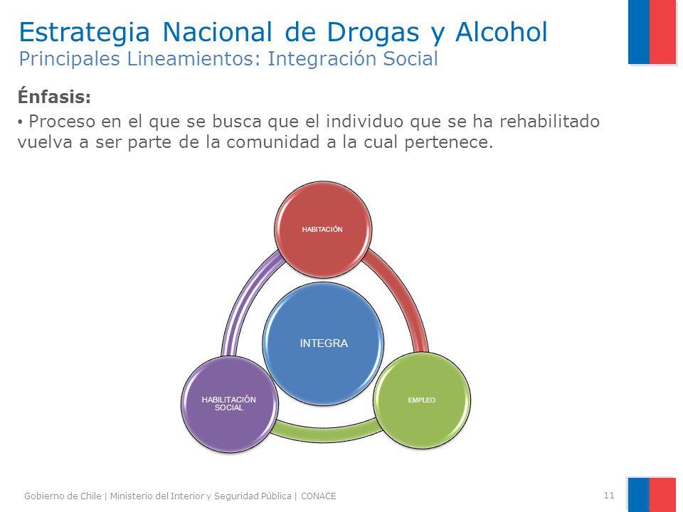 Gobierno de Chile | Ministerio del Interior y Seguridad Pública | CONACE 11 Estrategia Nacional de Drogas y Alcohol Principales Lineamientos: Integrac