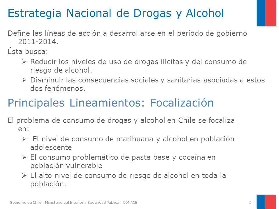 Gobierno de Chile | Ministerio del Interior y Seguridad Pública | CONACE 2 Estrategia Nacional de Drogas y Alcohol Principales Lineamientos: Focalizac