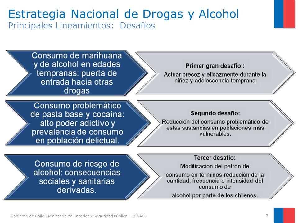 Gobierno de Chile | Ministerio del Interior y Seguridad Pública | CONACE 3 Estrategia Nacional de Drogas y Alcohol Principales Lineamientos: Desafíos