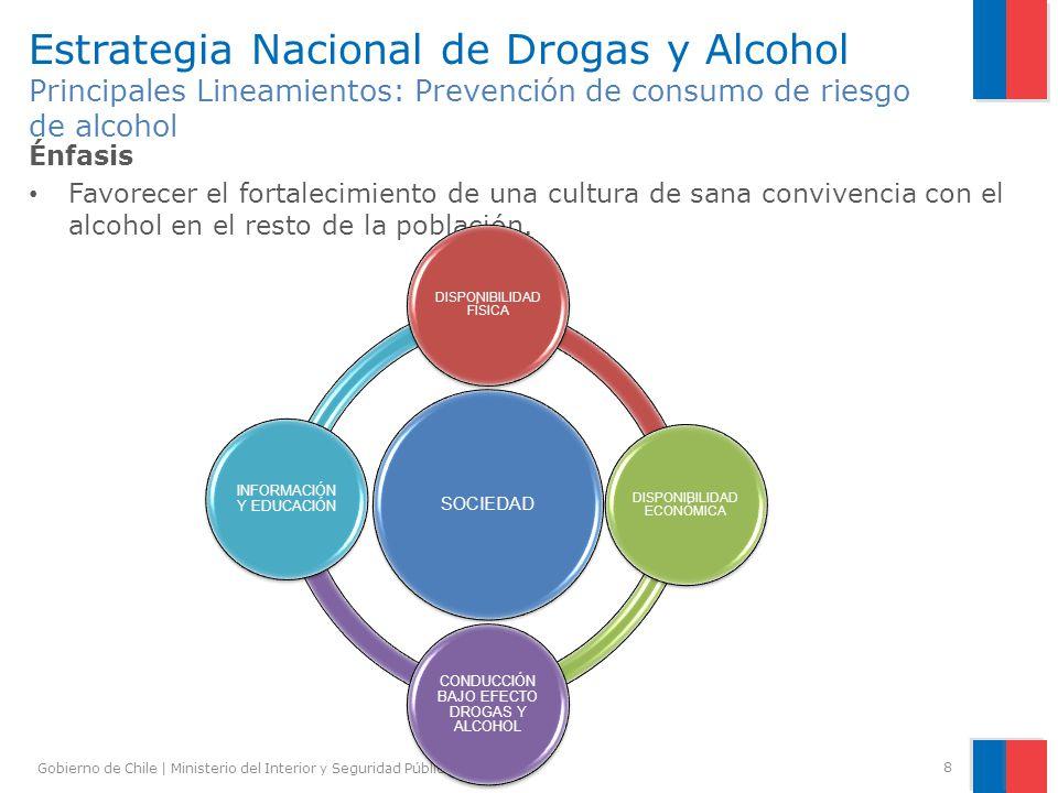 Gobierno de Chile | Ministerio del Interior y Seguridad Pública | CONACE 8 Estrategia Nacional de Drogas y Alcohol Principales Lineamientos: Prevenció