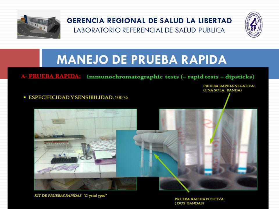 GERENCIA REGIONAL DE SALUD LA LIBERTAD LABORATORIO REFERENCIAL DE SALUD PUBLICA MANEJO DE PRUEBA RAPIDA