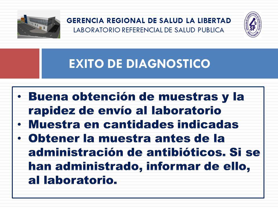 GERENCIA REGIONAL DE SALUD LA LIBERTAD LABORATORIO REFERENCIAL DE SALUD PUBLICA EXITO DE DIAGNOSTICO
