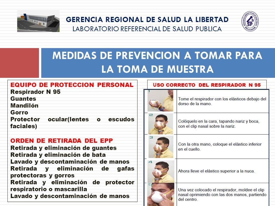 GERENCIA REGIONAL DE SALUD LA LIBERTAD LABORATORIO REFERENCIAL DE SALUD PUBLICA MEDIDAS DE PREVENCION A TOMAR PARA LA TOMA DE MUESTRA EQUIPO DE PROTEC