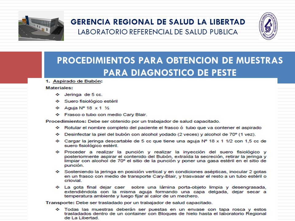 PROCEDIMIENTOS PARA OBTENCION DE MUESTRAS PARA DIAGNOSTICO DE PESTE GERENCIA REGIONAL DE SALUD LA LIBERTAD LABORATORIO REFERENCIAL DE SALUD PUBLICA