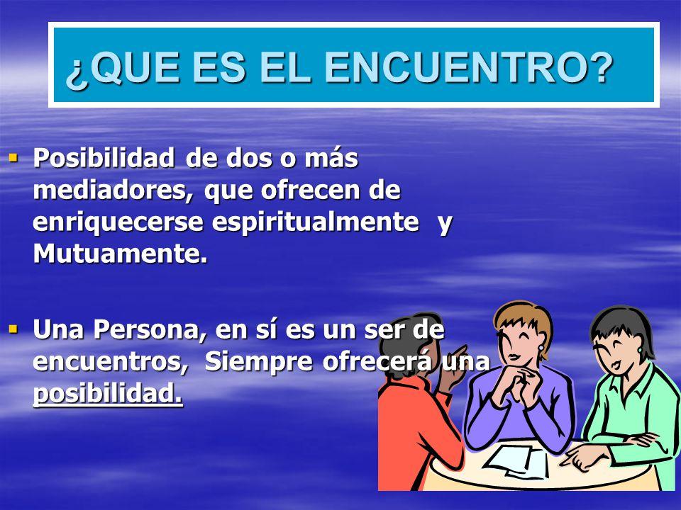 ¿QUE ES EL ENCUENTRO? Posibilidad de dos o más mediadores, que ofrecen de enriquecerse espiritualmente y Mutuamente. Posibilidad de dos o más mediador