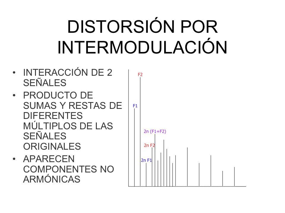 DISTORSIÓN POR INTERMODULACIÓN INTERACCIÓN DE 2 SEÑALES PRODUCTO DE SUMAS Y RESTAS DE DIFERENTES MÚLTIPLOS DE LAS SEÑALES ORIGINALES APARECEN COMPONEN