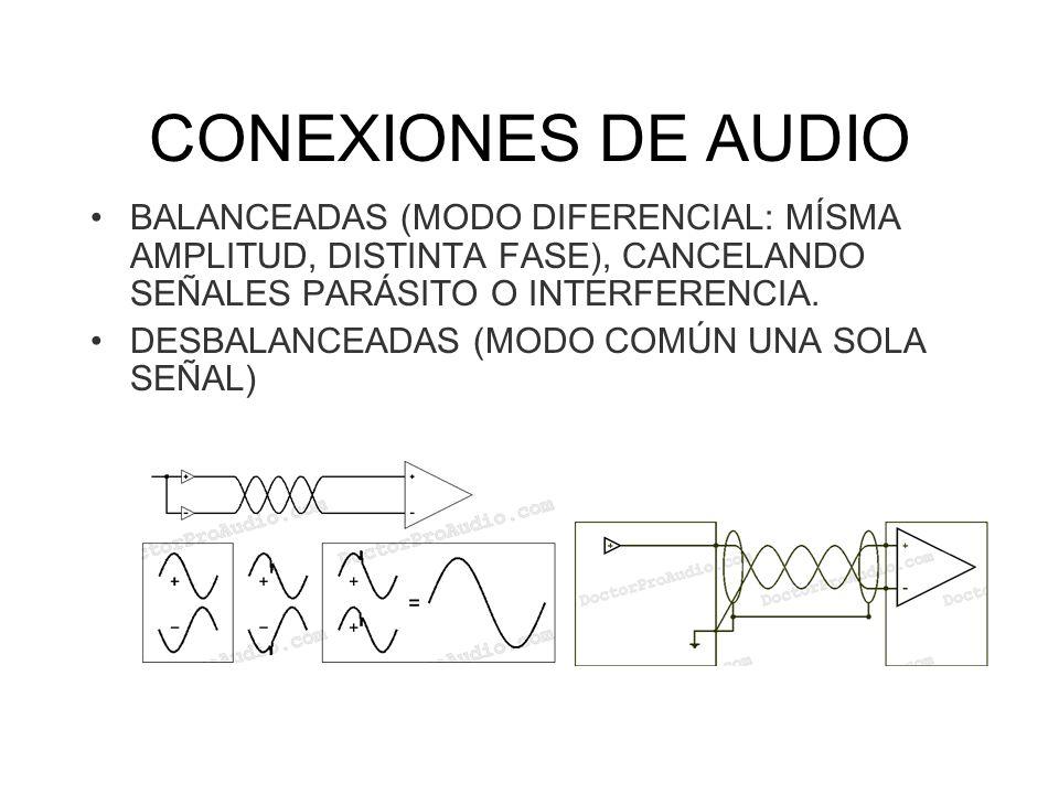 CONEXIONES DE AUDIO BALANCEADAS (MODO DIFERENCIAL: MÍSMA AMPLITUD, DISTINTA FASE), CANCELANDO SEÑALES PARÁSITO O INTERFERENCIA.