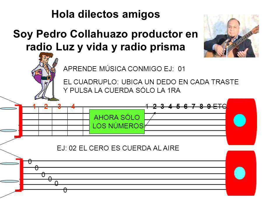 Hola dilectos amigos Soy Pedro Collahuazo productor en radio Luz y vida y radio prisma APRENDE MÚSICA CONMIGO EJ: 01 EL CUADRUPLO: UBICA UN DEDO EN CA