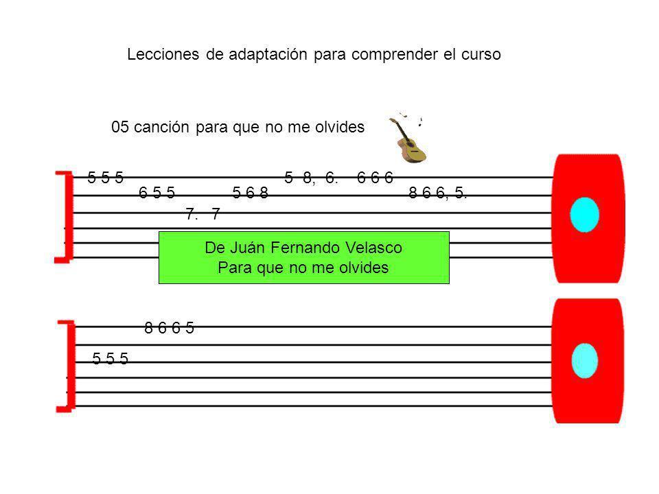 5 5 5 6 5 5 7.7 5 6 8 5 8, 6.6 6 6 8 6 6, 5. 5 5 5 8 6 6 5 De Juán Fernando Velasco Para que no me olvides 05 canción para que no me olvides Lecciones