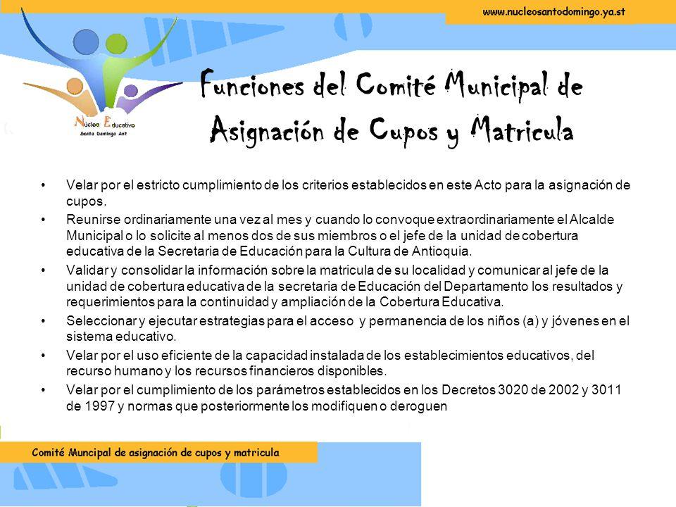Funciones del Comité Municipal de Asignación de Cupos y Matricula Velar por el estricto cumplimiento de los criterios establecidos en este Acto para la asignación de cupos.