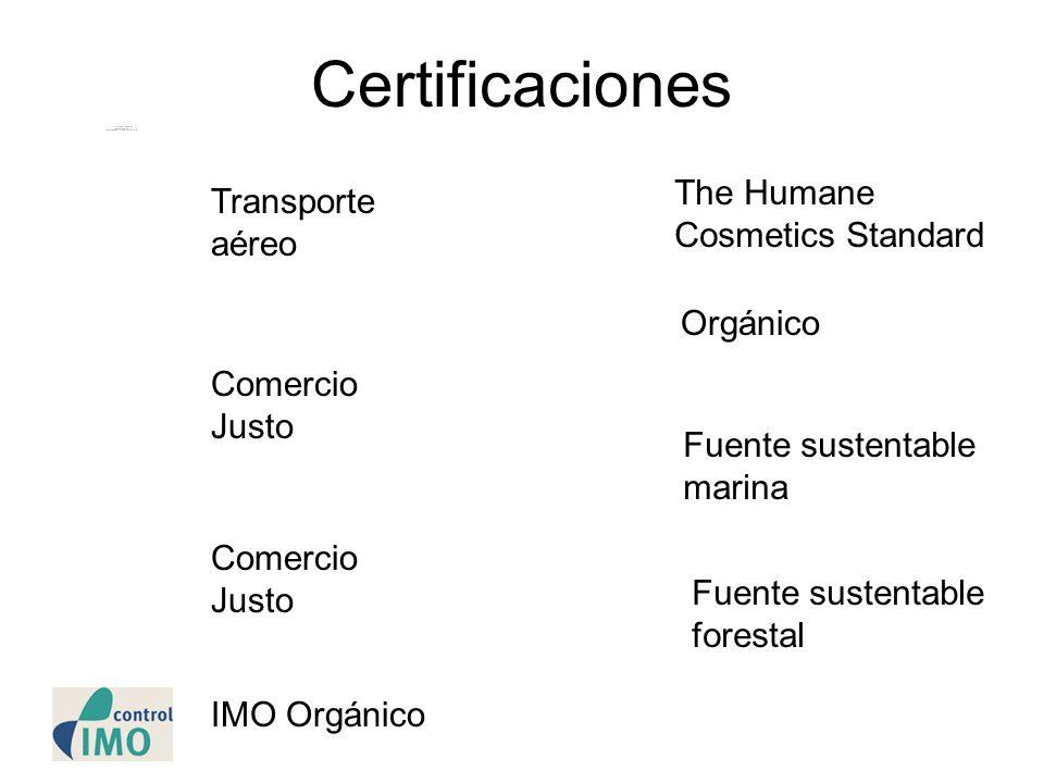 Certificaciones Transporte aéreo Comercio Justo The Humane Cosmetics Standard Orgánico Fuente sustentable marina Fuente sustentable forestal Comercio