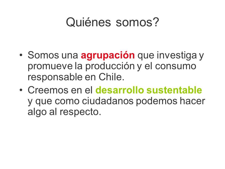 Quiénes somos? Somos una agrupación que investiga y promueve la producción y el consumo responsable en Chile. Creemos en el desarrollo sustentable y q