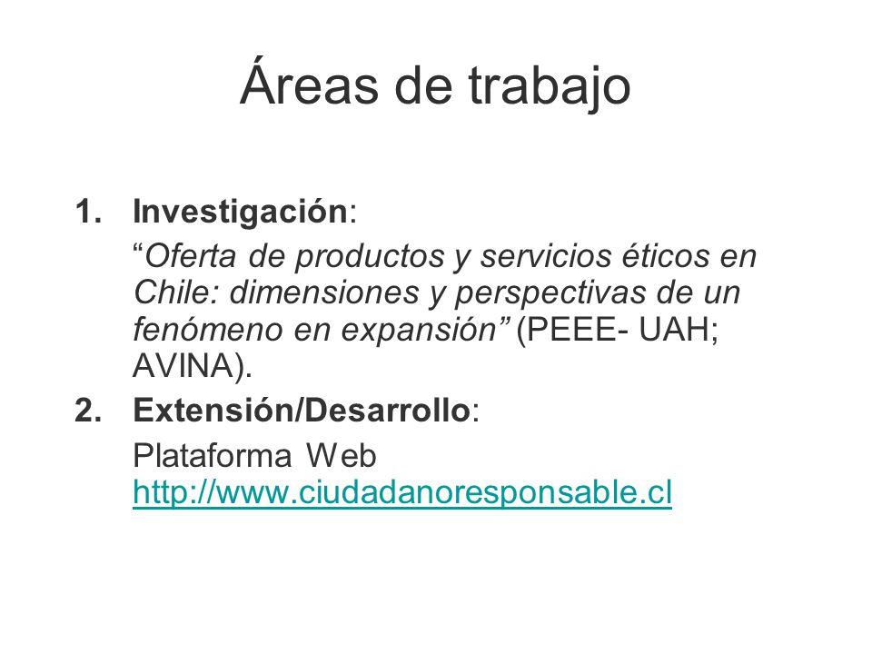 Áreas de trabajo 1.Investigación: Oferta de productos y servicios éticos en Chile: dimensiones y perspectivas de un fenómeno en expansión (PEEE- UAH;