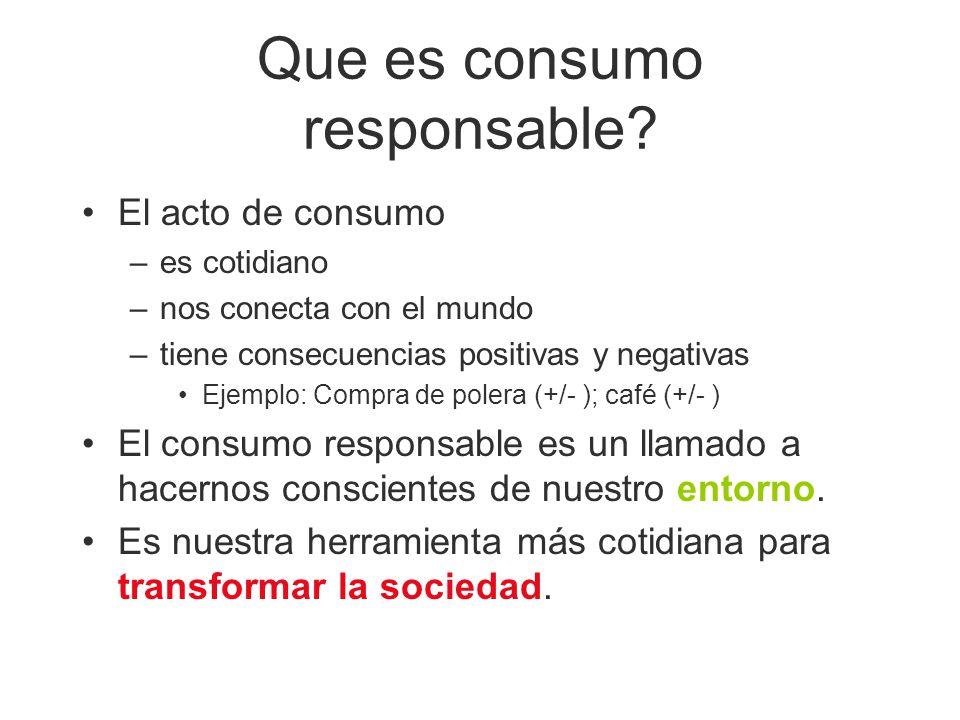 Que es consumo responsable? El acto de consumo –es cotidiano –nos conecta con el mundo –tiene consecuencias positivas y negativas Ejemplo: Compra de p