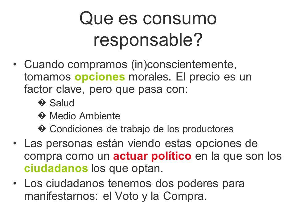 Que es consumo responsable? Cuando compramos (in)conscientemente, tomamos opciones morales. El precio es un factor clave, pero que pasa con: Salud Med