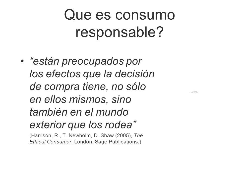 Que es consumo responsable? están preocupados por los efectos que la decisión de compra tiene, no sólo en ellos mismos, sino también en el mundo exter