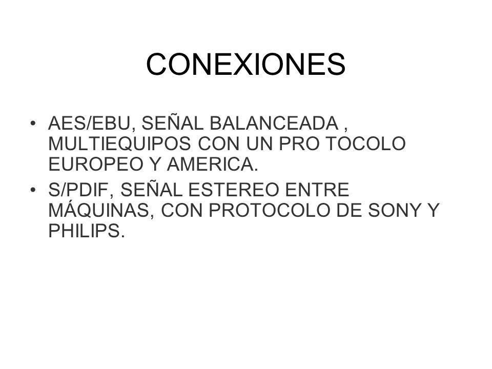 CONEXIONES AES/EBU, SEÑAL BALANCEADA, MULTIEQUIPOS CON UN PRO TOCOLO EUROPEO Y AMERICA. S/PDIF, SEÑAL ESTEREO ENTRE MÁQUINAS, CON PROTOCOLO DE SONY Y