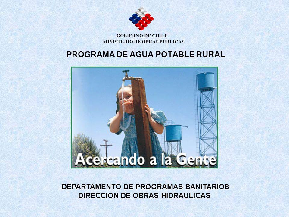 PROGRAMA DE AGUA POTABLE RURAL DEPARTAMENTO DE PROGRAMAS SANITARIOS DIRECCION DE OBRAS HIDRAULICAS DIRECCION DE OBRAS HIDRAULICAS GOBIERNO DE CHILE MI