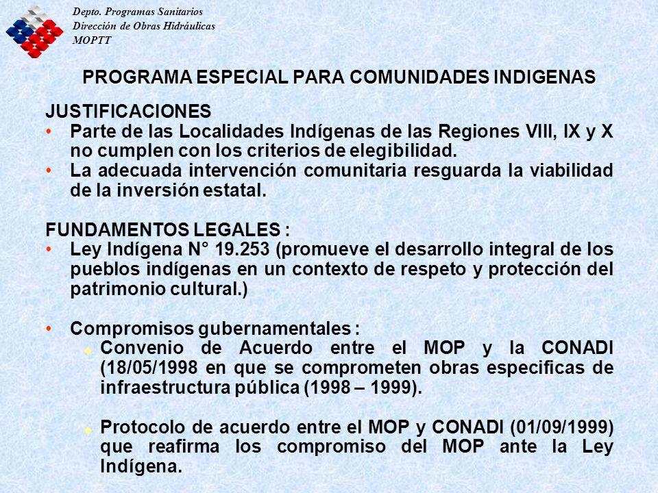 PROGRAMA ESPECIAL PARA COMUNIDADES INDIGENAS JUSTIFICACIONES Parte de las Localidades Indígenas de las Regiones VIII, IX y X no cumplen con los criter