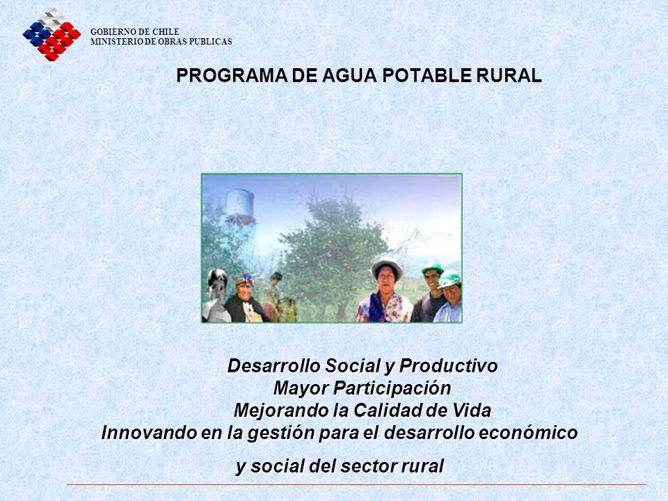 PROGRAMA DE AGUA POTABLE RURAL GOBIERNO DE CHILE MINISTERIO DE OBRAS PUBLICAS Desarrollo Social y Productivo Mayor Participación Mejorando la Calidad