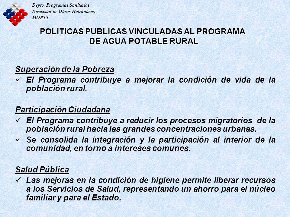 Depto. Programas Sanitarios Dirección de Obras Hidráulicas MOPTT POLITICAS PUBLICAS VINCULADAS AL PROGRAMA DE AGUA POTABLE RURAL Superación de la Pobr