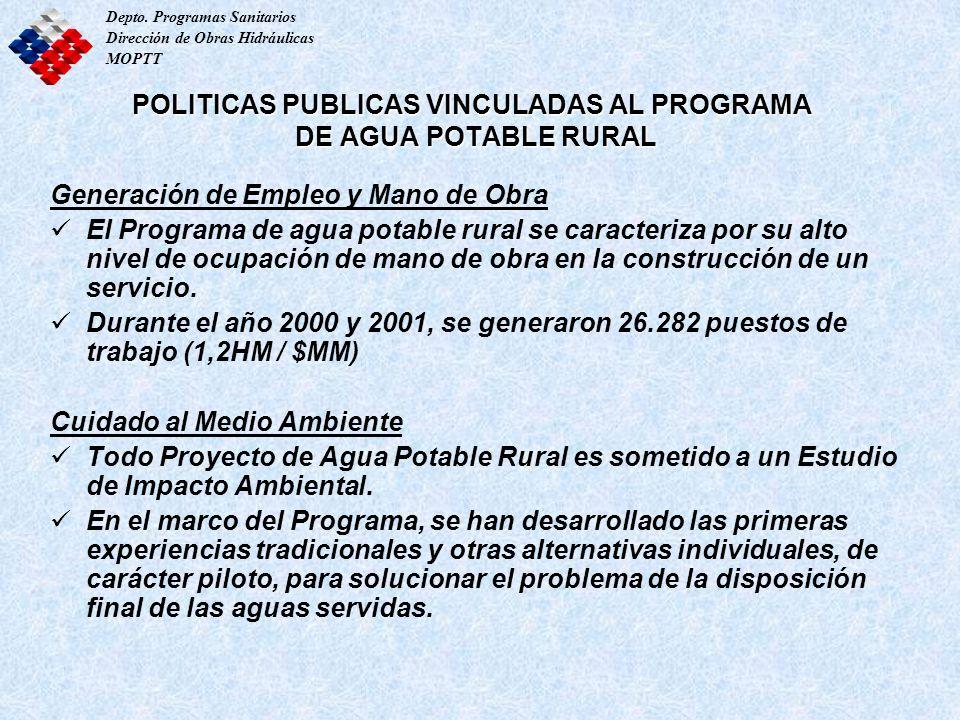 Depto. Programas Sanitarios Dirección de Obras Hidráulicas MOPTT POLITICAS PUBLICAS VINCULADAS AL PROGRAMA DE AGUA POTABLE RURAL Generación de Empleo