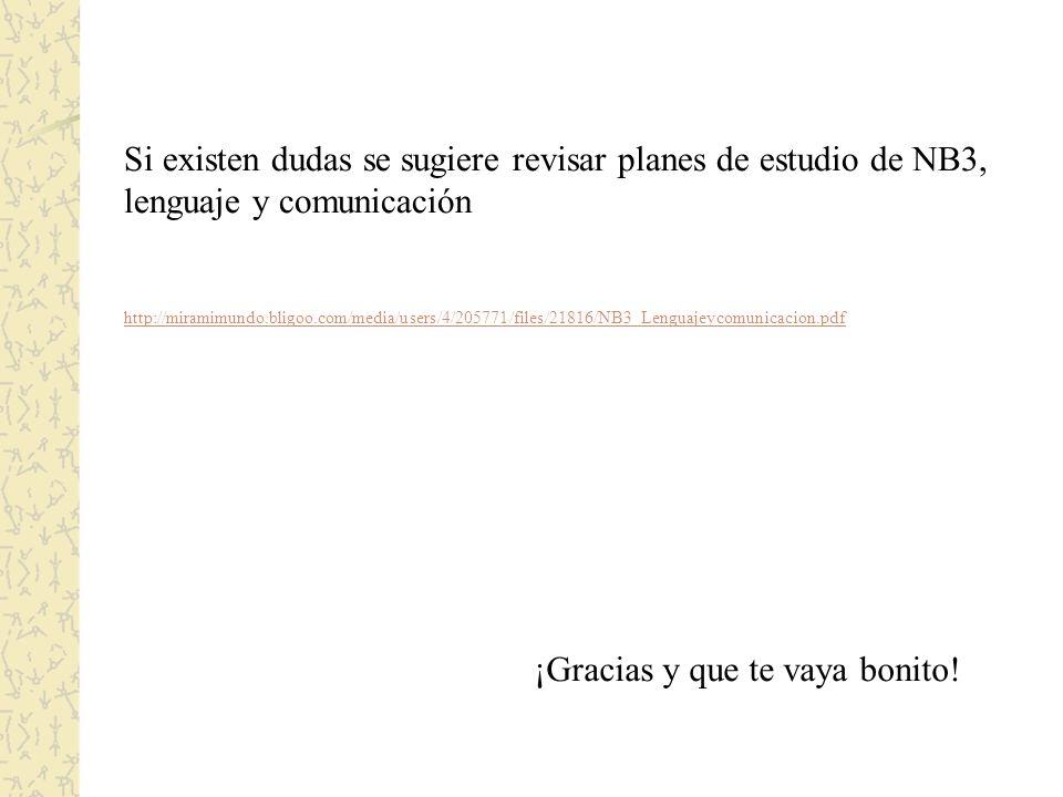 Si existen dudas se sugiere revisar planes de estudio de NB3, lenguaje y comunicación http://miramimundo.bligoo.com/media/users/4/205771/files/21816/NB3_Lenguajeycomunicacion.pdf ¡Gracias y que te vaya bonito!