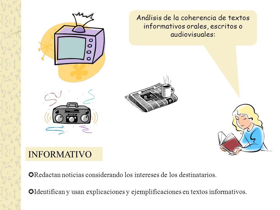 INFORMATIVO Análisis de la coherencia de textos informativos orales, escritos o audiovisuales: Redactan noticias considerando los intereses de los destinatarios.