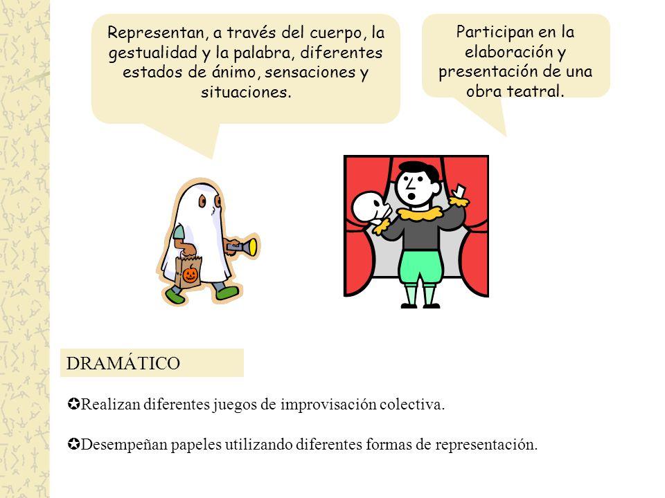 DRAMÁTICO Representan, a través del cuerpo, la gestualidad y la palabra, diferentes estados de ánimo, sensaciones y situaciones.