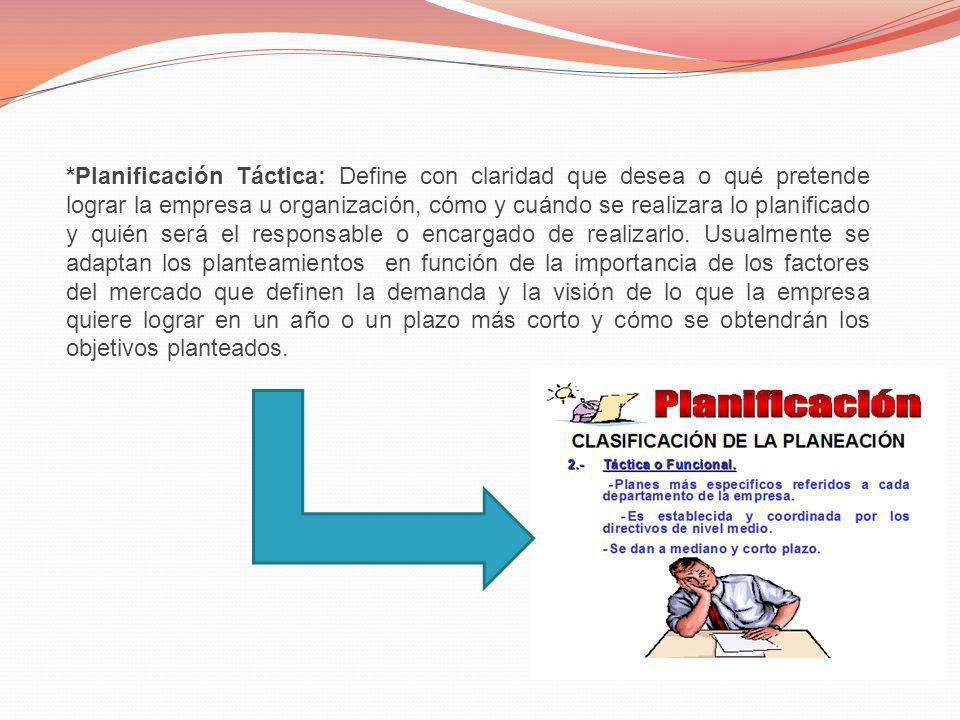 *Planificación Táctica: Define con claridad que desea o qué pretende lograr la empresa u organización, cómo y cuándo se realizara lo planificado y qui