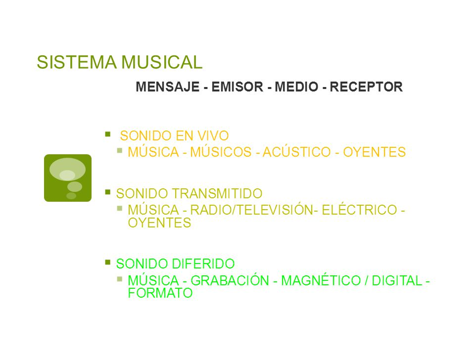 MENSAJE - EMISOR - MEDIO - RECEPTOR SONIDO EN VIVO MÚSICA - MÚSICOS - ACÚSTICO - OYENTES SONIDO TRANSMITIDO MÚSICA - RADIO/TELEVISIÓN- ELÉCTRICO - OYE