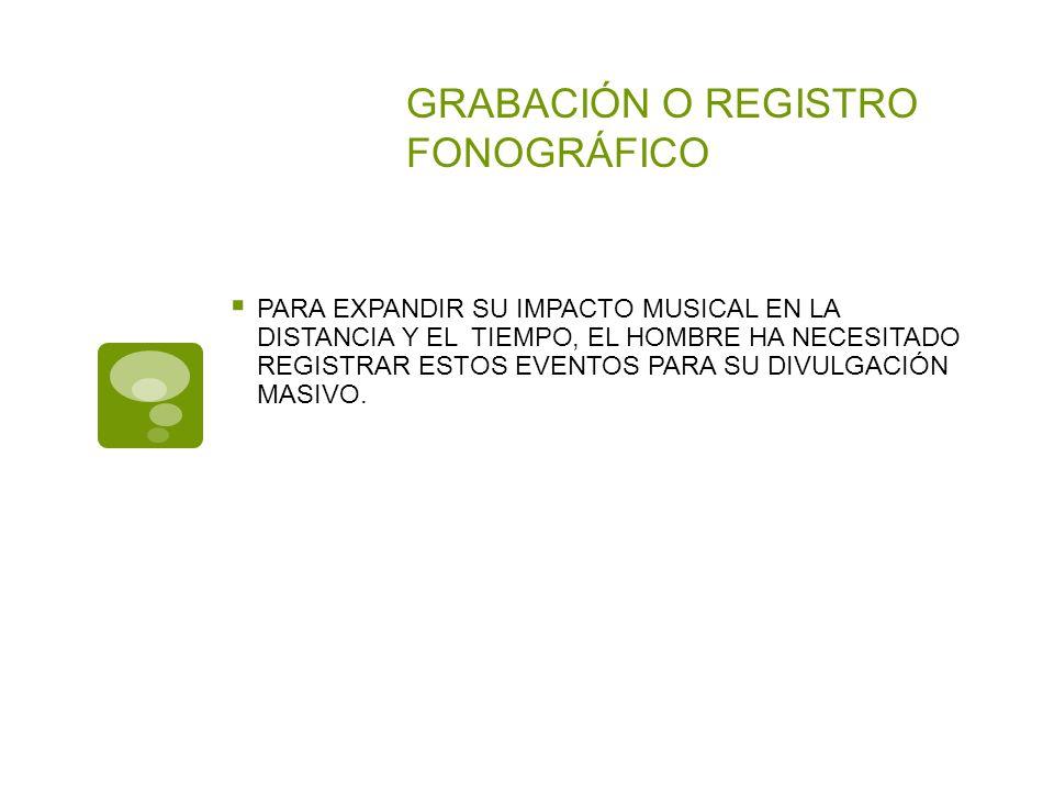 GRABACIÓN O REGISTRO FONOGRÁFICO PARA EXPANDIR SU IMPACTO MUSICAL EN LA DISTANCIA Y EL TIEMPO, EL HOMBRE HA NECESITADO REGISTRAR ESTOS EVENTOS PARA SU