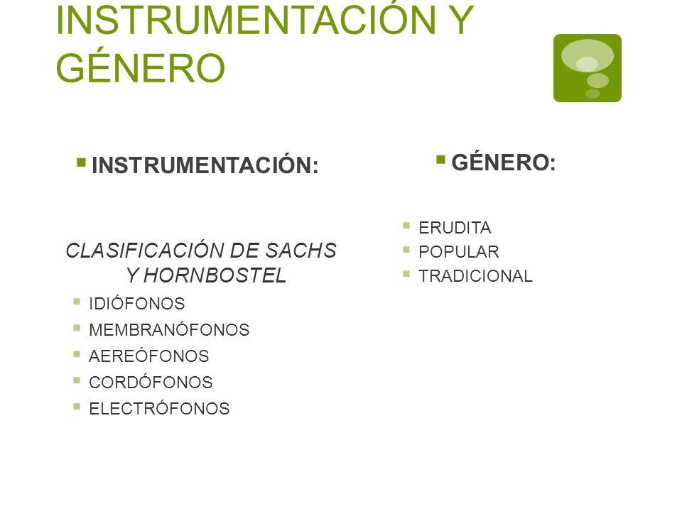INSTRUMENTACIÓN Y GÉNERO INSTRUMENTACIÓN: CLASIFICACIÓN DE SACHS Y HORNBOSTEL IDIÓFONOS MEMBRANÓFONOS AEREÓFONOS CORDÓFONOS ELECTRÓFONOS GÉNERO: ERUDI