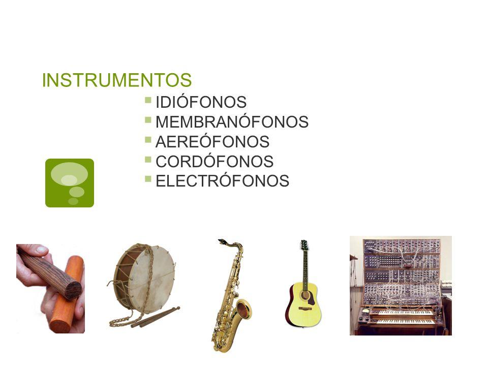 INSTRUMENTOS IDIÓFONOS MEMBRANÓFONOS AEREÓFONOS CORDÓFONOS ELECTRÓFONOS