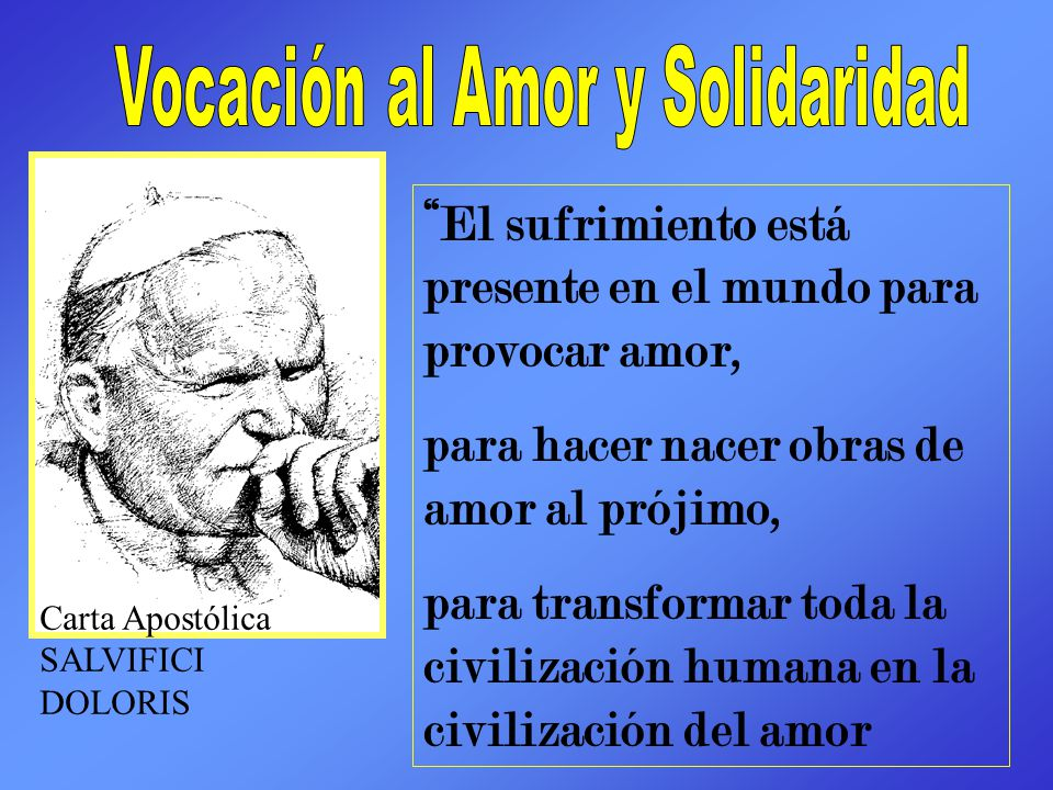 El sufrimiento está presente en el mundo para provocar amor, para hacer nacer obras de amor al prójimo, para transformar toda la civilización humana e