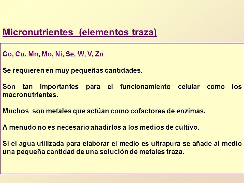 Micronutrientes (elementos traza) Co, Cu, Mn, Mo, Ni, Se, W, V, Zn Se requieren en muy pequeñas cantidades.