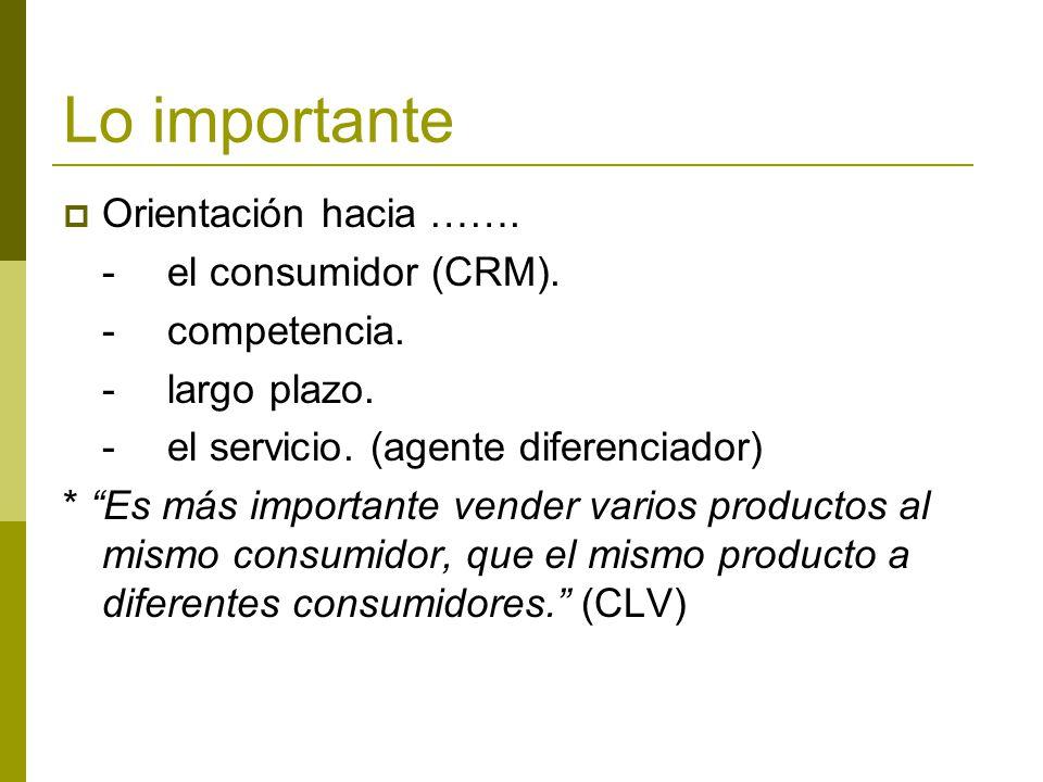 Lo importante Orientación hacia ……. -el consumidor (CRM). -competencia. -largo plazo. -el servicio. (agente diferenciador) * Es más importante vender