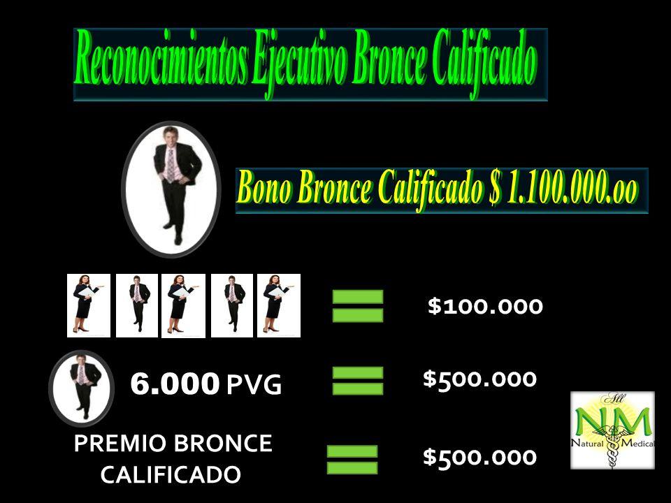$100.000 6.000 PVG $500.000 PREMIO BRONCE CALIFICADO $500.000