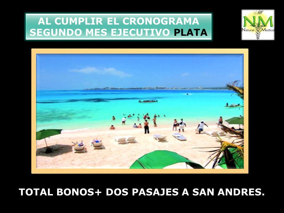 AL CUMPLIR EL CRONOGRAMA SEGUNDO MES EJECUTIVO PLATA TOTAL BONOS+ DOS PASAJES A SAN ANDRES.