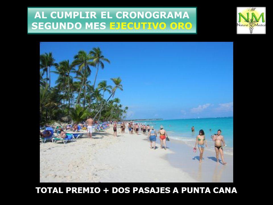 AL CUMPLIR EL CRONOGRAMA SEGUNDO MES EJECUTIVO ORO TOTAL PREMIO + DOS PASAJES A PUNTA CANA