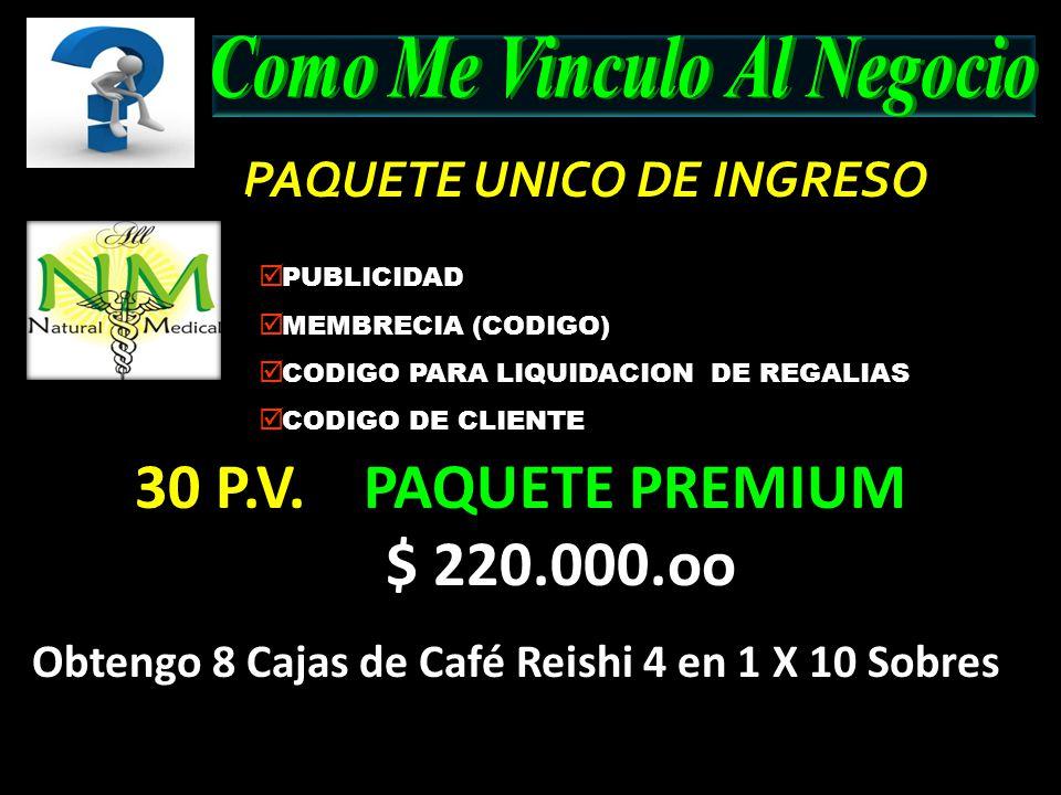 PAQUETE UNICO DE INGRESO PAQUETE UNICO DE INGRESO PUBLICIDAD MEMBRECIA (CODIGO) CODIGO PARA LIQUIDACION DE REGALIAS CODIGO DE CLIENTE 30 P.V. PAQUETE