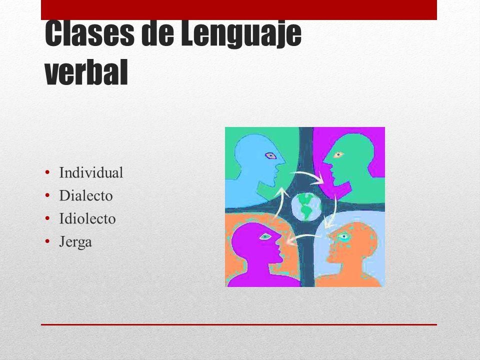 Clases de Lenguaje verbal Individual Dialecto Idiolecto Jerga