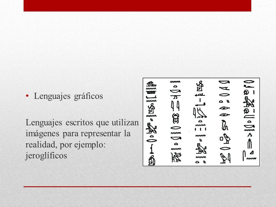 Lenguajes gráficos Lenguajes escritos que utilizan imágenes para representar la realidad, por ejemplo: jeroglíficos