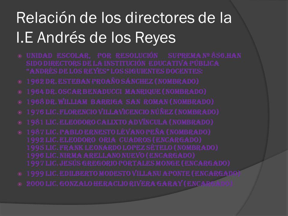 Relación de los directores de la I.E Andrés de los Reyes Unidad Escolar, por Resolución Suprema Nº 856.Han sido Directors de la Institución Educativa Pública Andrés de los Reyes los siguientes Docentes: 1962 Dr.