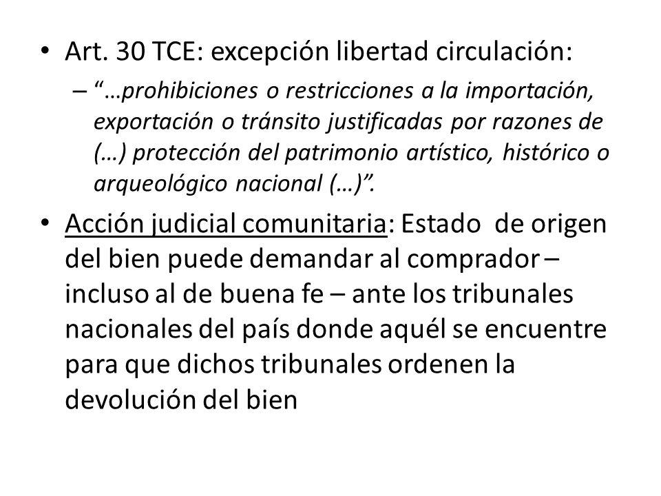 Art. 30 TCE: excepción libertad circulación: – …prohibiciones o restricciones a la importación, exportación o tránsito justificadas por razones de (…)