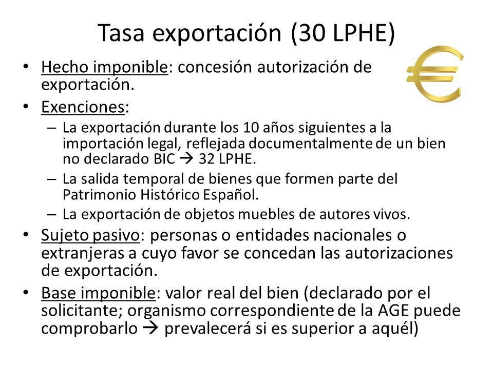 Tasa exportación (30 LPHE) Hecho imponible: concesión autorización de exportación.